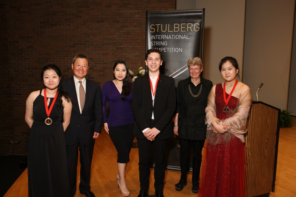 From left to right: Gold Medalist Yaegy Park, Judge Eric Kim, Judge Sarah Chang, Silver Medalist Oliver Herbert, Judge Heidi Castleman, Bronze Medalist Hae Sue Lee