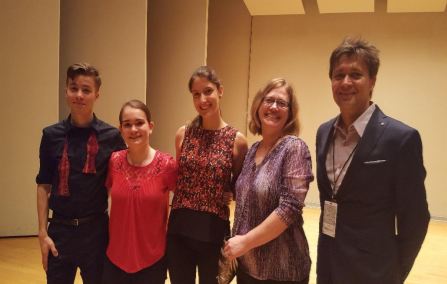 Trio Brioso (left to right), Karl Falb, violin, Mara Logan, piano, Helen LaGrand, cello, with Megan Reiter Crawford, coach and Dr. Libor Ondras, guest clinician