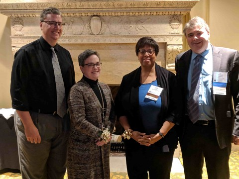 MASTA President Dan Scott (far left) and President- Elect Michael Hopkins (far right) pictured with Teacher of the Year nominee Lynn Brosnan (center left) and 2019 Teacher of the Year award winner Linda Trotter (center right).